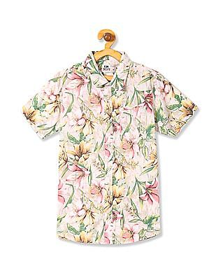 FM Boys Boys Floral Print Short Sleeve Shirt