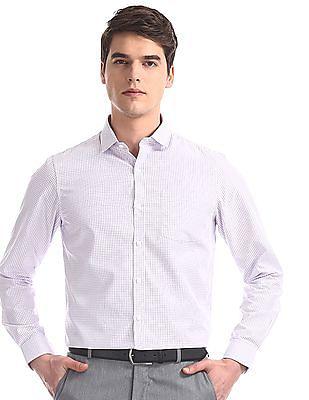 Excalibur White Regular Fit Check Shirt