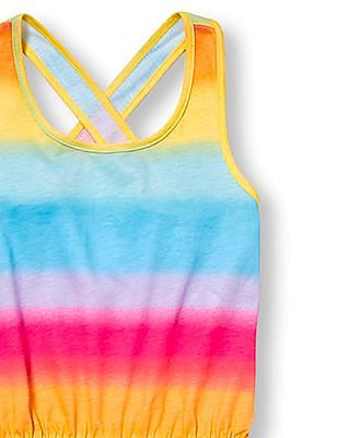 The Children's Place Girls Multi Colour Sleeveless Rainbow Ombre Cross Back Knit Romper