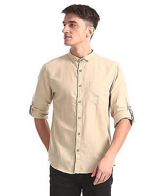 Cherokee Beige Roll Up Sleeve Cotton Linen Shirt