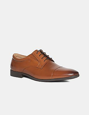 Arrow Brown Burnished Cap Toe Derby Shoes