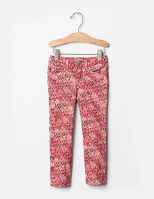 GAP Baby Pink 1969 Floral Print Skinny Jeans
