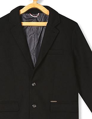 U.S. Polo Assn. Kids Black Boys Single Breasted Textured Blazer