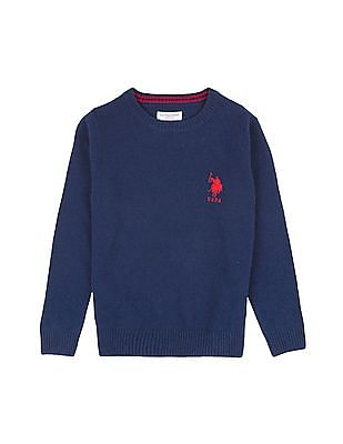 U.S. Polo Assn. Kids Boys Round Neck Lambswool Sweater