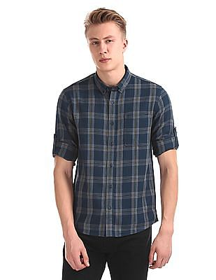 Roots by Ruggers Blue Button Down Collar Check Shirt