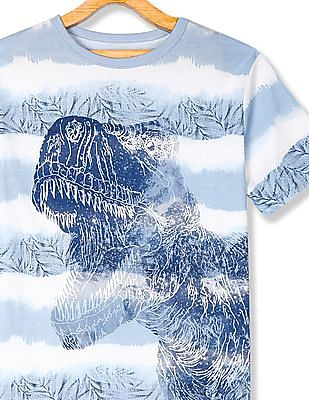 The Children's Place Blue Boys Tie-Dye Stripe Dino Graphic T-Shirt