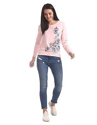 Cherokee Pink Crew Neck Floral Print Sweatshirt
