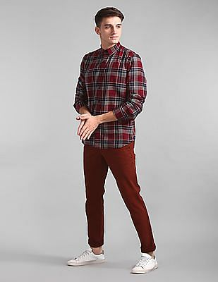 GAP Red Slim Fit Check Shirt