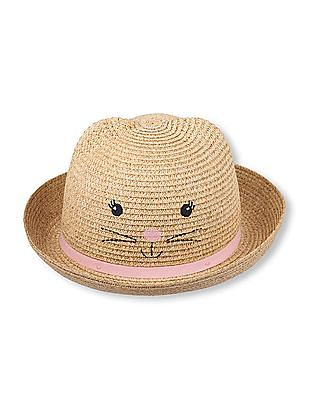 The Children's Place Toddler Girl Beige Kitty Straw Hat