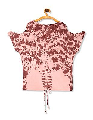 Aeropostale Pink Cold Shoulder Tie And Dye Top