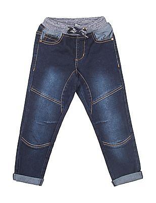 Cherokee Boys Elasticized drawstring Waist Washed Jeans