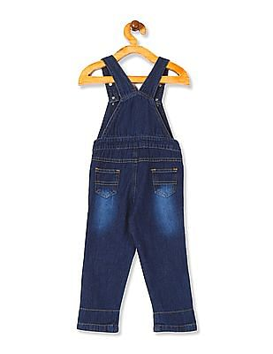 Donuts Boys Embroidered Denim Dungarees