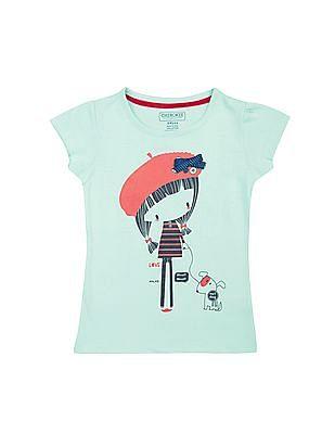 Cherokee Girls Graphic Print Round Neck T-Shirt