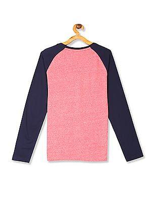U.S. Polo Assn. Kids Red Boys Colour Block Raglan Sleeve T-Shirt