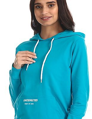 Flying Machine Women Blue Hooded Solid Sweatshirt