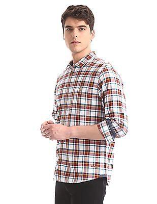 Cherokee White Mitered Cuff Check Shirt
