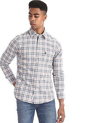 U.S. Polo Assn. Grey Spread Collar Check Shirt