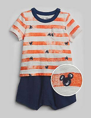 GAP Baby Orange Disney Mickey Mouse Shorty One-Piece