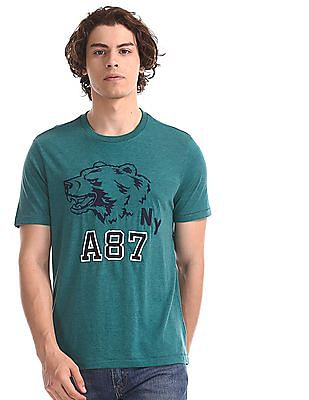 Aeropostale Green Crew Neck Appliqued T-Shirt