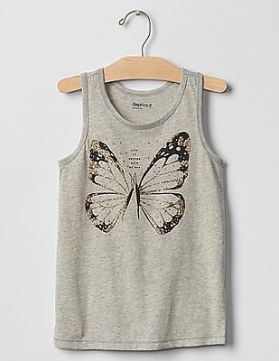 GAP Girls Grey Graphic Tank