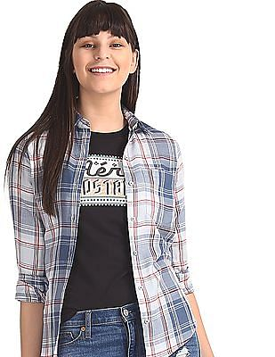 Aeropostale Blue Barrel Cuff Check Shirt