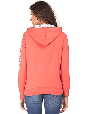 Flying Machine Women Hooded Zip Up Sweatshirt