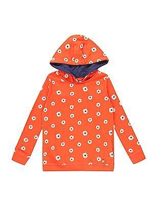 U.S. Polo Assn. Kids Girls Floral Print Hooded Sweatshirt