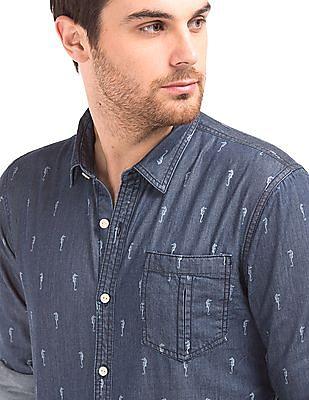 Cherokee Regular Fit Seahorse Printed Shirt