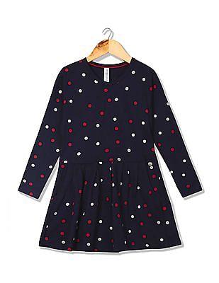 U.S. Polo Assn. Kids Girls Polka Dot Fit And Flare Dress