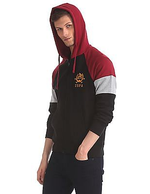 U.S. Polo Assn. Black Drawstring Hood Colour Block Sweatshirt