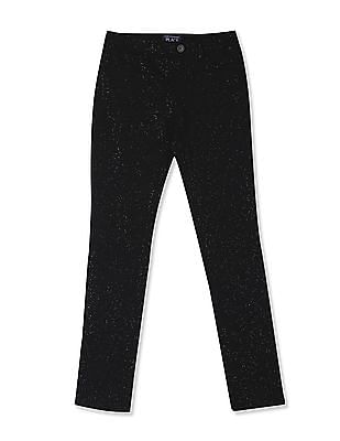 The Children's Place Black Girls Glitter Knit Pull On Jeggings