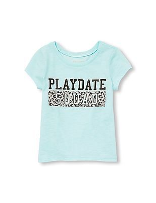 The Children's Place Toddler Girl Short Sleeve Glitter Playdate Squad Graphic Tee