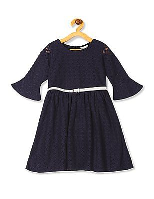Cherokee Blue Girls Belted Fit And Flare Dress