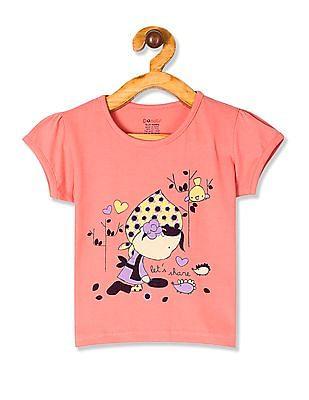Donuts Pink Girls Puff Sleeve Printed T-Shirt