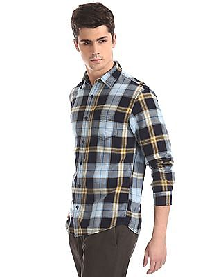 Cherokee Blue Rounded Cuff Check Shirt