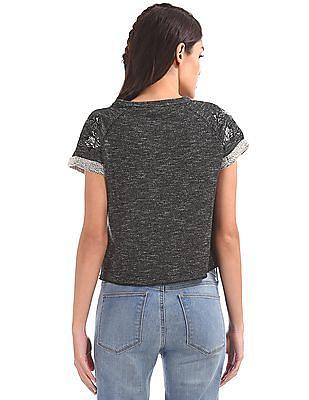 EdHardy Women Embroidered Sleeve Heathered Sweatshirt