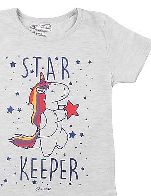 Cherokee Girls Glitter Print Round Neck T-Shirt