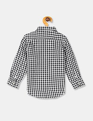 GAP White Toddler Boy Long Sleeve Gingham Shirt