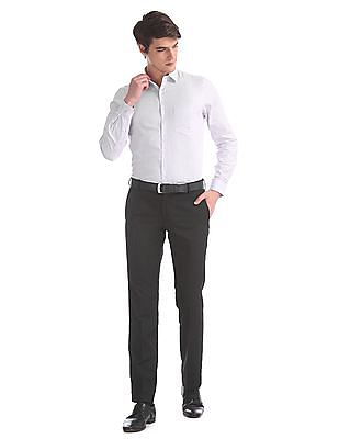 Excalibur Black Flat Front Solid Trousers