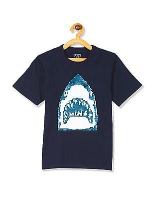 The Children's Place Blue Boys Short Sleeve Flip Sequin Graphic Top