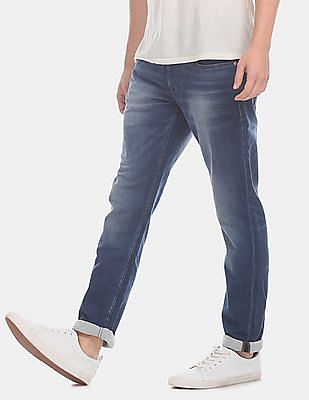 U.S. Polo Assn. Denim Co. Men Blue Brandon Slim Tapered Fit Faded Jeans