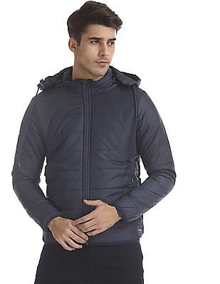 Flying Machine Blue Detachable Hood Quilted Jacket