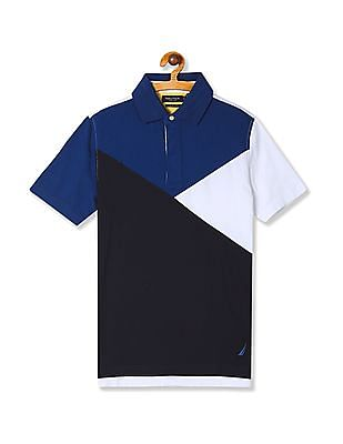 Nautica Short Sleeve Color Block Polo