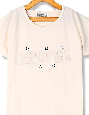 Cherokee Girls Round Neck Appliqued T-Shirt