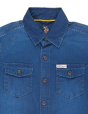 U.S. Polo Assn. Kids Boys Washed Chambray Shirt