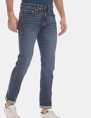 GAP Blue Straight Fit Washed Jeans