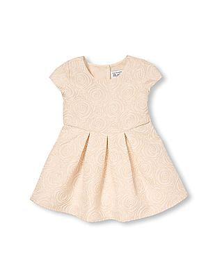 The Children's Place Toddler Girl Cap Sleeve Metallic Rose Brocade Pleated Dress