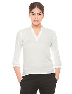 Arrow Woman White Dobby-Weave Top