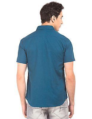 Flying Machine Short Sleeve Cotton Linen Shirt