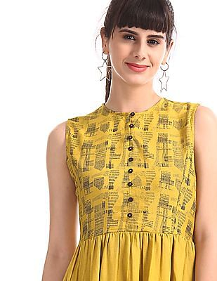 Bronz Yellow Sleeveless Fit And Flare Dress